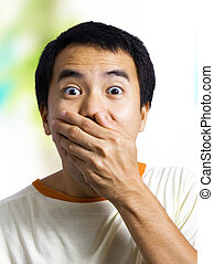 A Man With Surprised Expression - A man with a surprised...