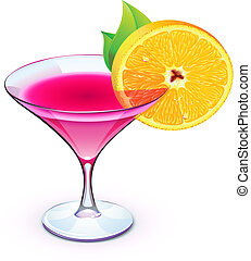 pink cocktail - Vector illustration of pink cocktail in a...