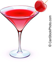 red cocktail - Vector illustration of red cocktail in a...