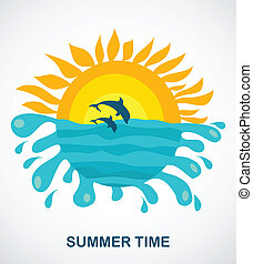 sunny view of two jumping dolphins, vector illustration
