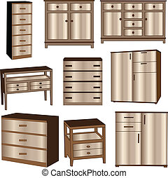 dressers collection - vector - illustration of dressers...