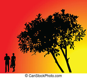 tree with background - vector