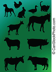 domestics animal with background - illustration of domestics...