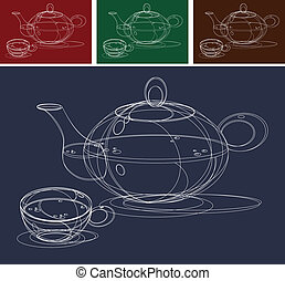 Teapot and Cups Sketch