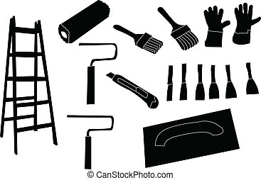 tools for painting - vector - illustration of tools for...