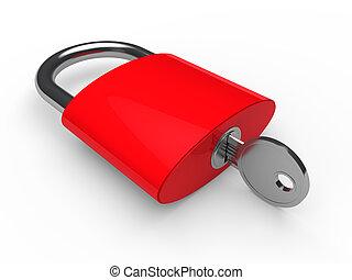 3d padlock red
