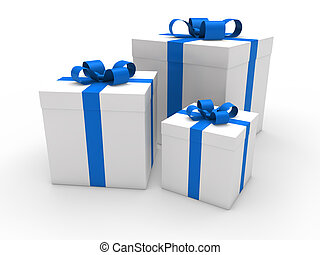 3d gift box blue white
