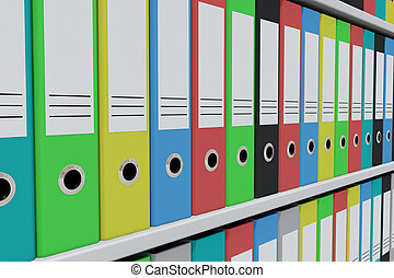 Row of colorful archive folders on the shelves