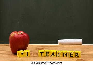 Best Teacher - An apple and yellow block with number one...