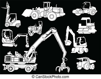 construction machines - Illustration of construction...