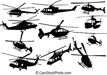 Illustration of helicopters - vector