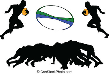 Illustration of rugby players - vector