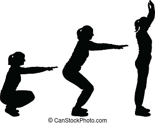 girls exercising - vector