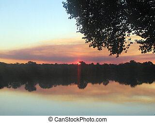 Sunset on the Zambezi river Zambia - Sunset on the Zambezi...