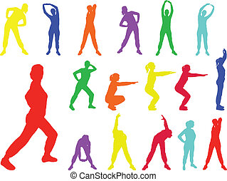 aerobics girl 6 - vector - illustration of aerobics girl 6 -...