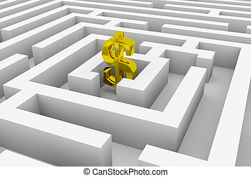Gold dollar sign in the center of a maze