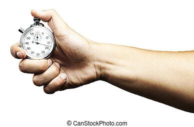 stopwatch on white - hand holding a stopwatch against a...