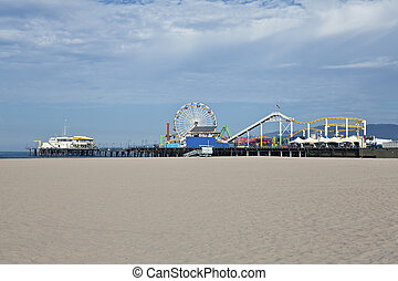 Santa Monica Beach and Pier - Quiet early morning at the...