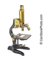 retro, microscópio, isolado