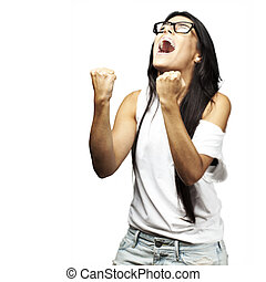 young woman shouting - portrait of young woman winner...