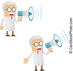 funny cartoon scientist with a megaphone