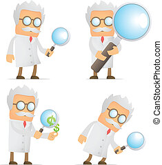 funny cartoon scientist with magnifying glass