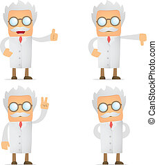 funny cartoon scientist hold thumb up and down - set of...