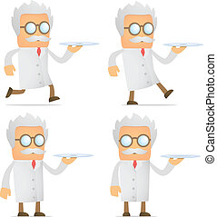 scientist with a tray - set of funny cartoon scientist in...