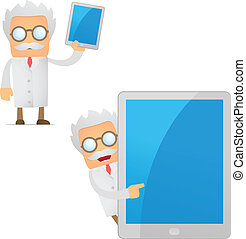 funny cartoon scientist with a laptop