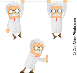 funny cartoon scientist hanging - set of funny cartoon...
