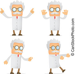 funny cartoon scientist - set of funny cartoon scientist in...