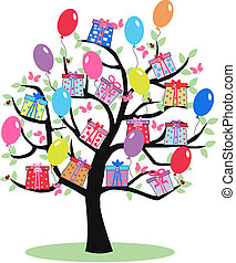 celebration - fantasy tree with ballons and present boxes