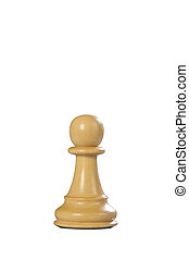 Wooden Chess: Pawn White - White wooden pawn queen - one of...
