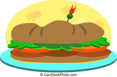 Submarine Sandwich on a Plate - Here is a delicious...