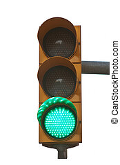 green traffic light isolated on white background