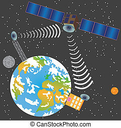 Satellite transmitting signal - Satellite transmit signal...