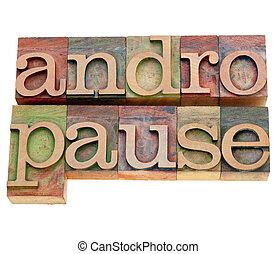 詞, 類型,  andropause,  Letterpress