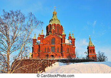 Helsinki. Assumption Cathedral - Uspensky Cathedral in...