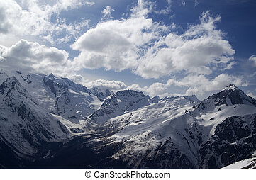 Hight mountains in clouds Caucasus, region Dombay