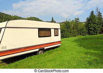 Small caravan at a camping