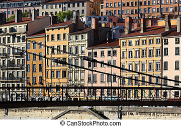 buildings in the Lyon washed in the warm afternoon sunlight