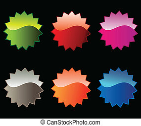 Colorful Stickers - Vector set of six colorful sales...