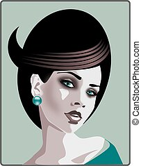 styling hair, - Stock Photo: illustration of a portrait of a...