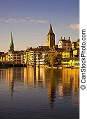 Morning light in Limmat River, Zurich