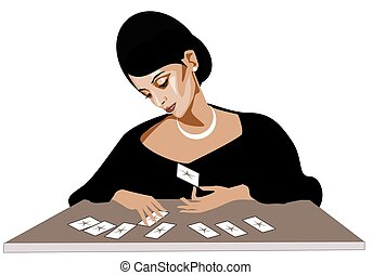 fairy - Stock Photo: illustration of a fairy with the cards...