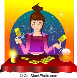 fairy. - Stock Photo: illustration of a fairy with the cards...