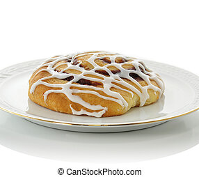 fresh cinnamon roll on white background