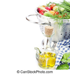 Olive oil and Fresh vegetables - Fresh vegetables in metal...