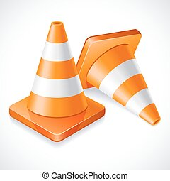 Traffic cones - Vector illustration - two orange traffic...