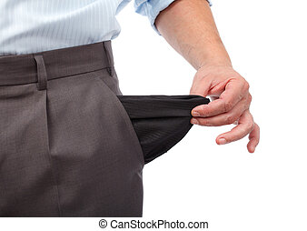 Money crisis - Businessman turning his empty pockets inside...
